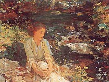 Sargent_black_brook_woman_sitting_by_pen